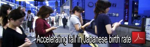 5 pav. Sparčiai mažėja gimimų skaičius Japonijoje